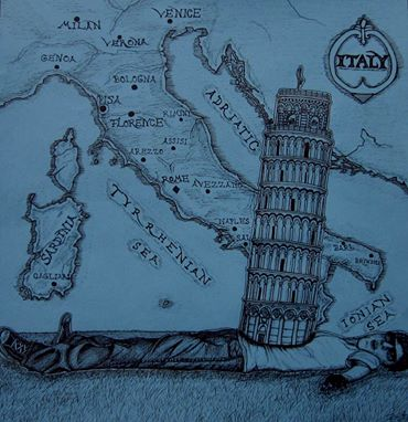 Hungry for Pisa    - Pen and Ink - 2014