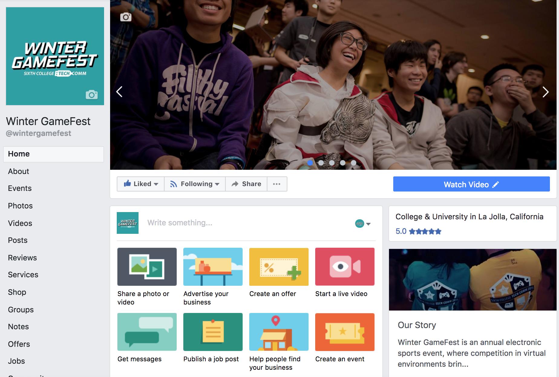Screenshot of redesigned Winter GameFest Facebook Page.