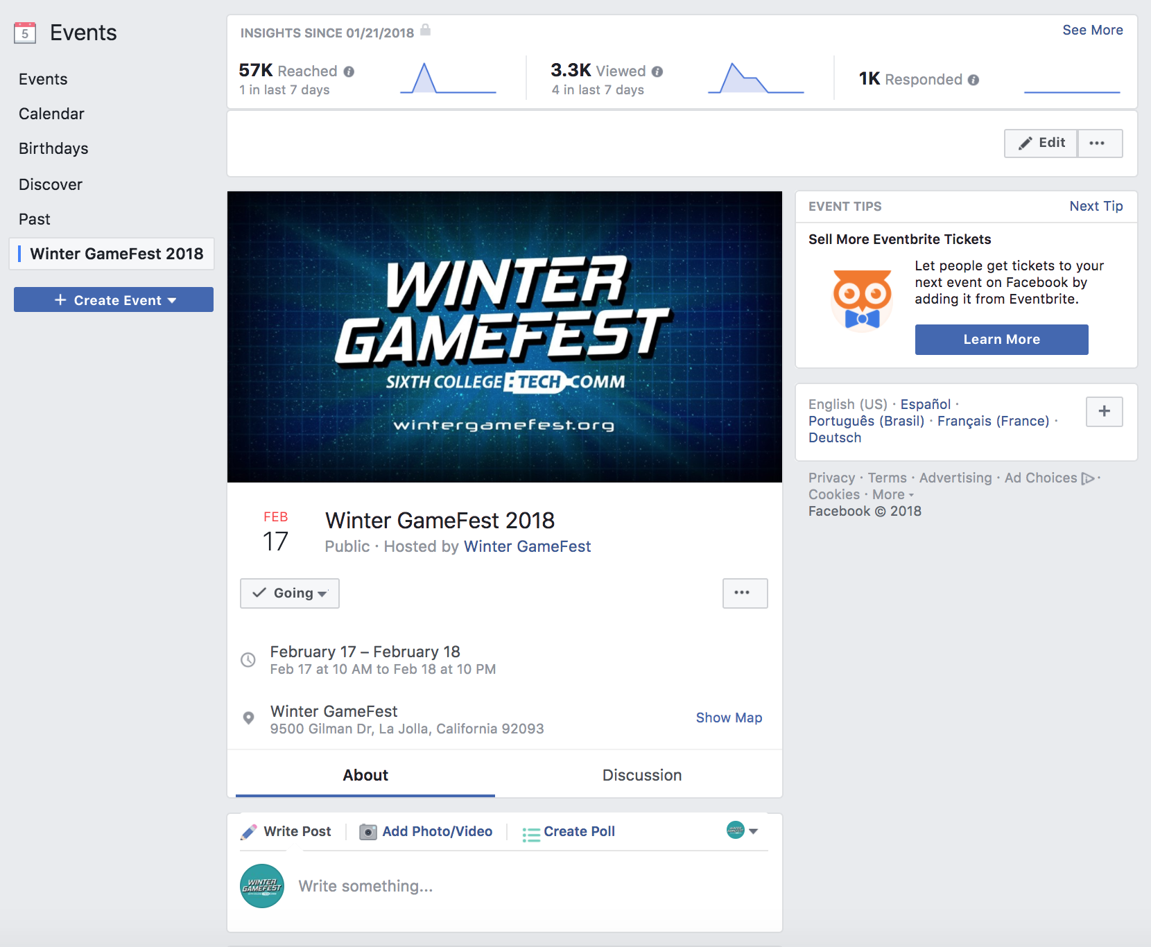Screenshot of Winter GameFest 2018 Event Page and engagement.