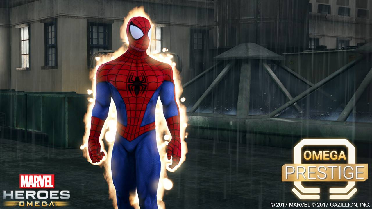 Rendered and treated game screenshot of Spiderman used for marketing and press release.
