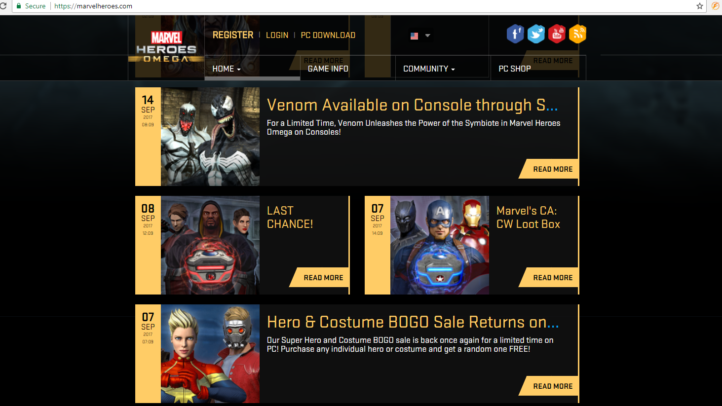Screenshot of official Marvel Heroes Omega website in September of 2017. Created multiple assets and formatted content.