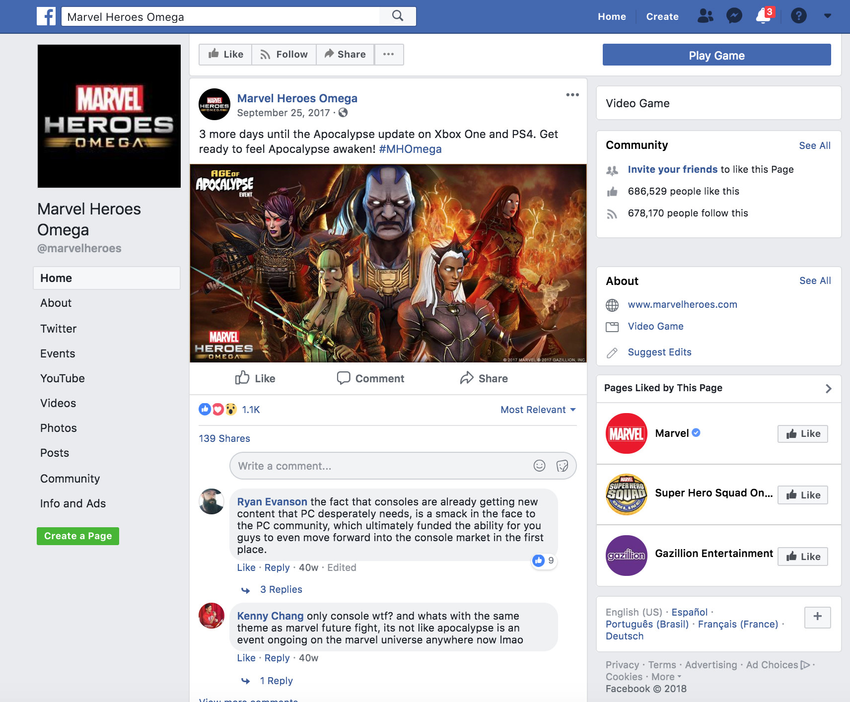 Screenshot of Official Marvel Heroes Omega Facebook Page with assets created.
