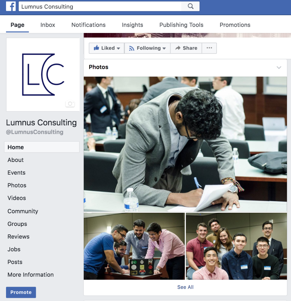 Screenshot of Lumnus Consulting Facebook Page. All photographs shown were taken by Karmah.