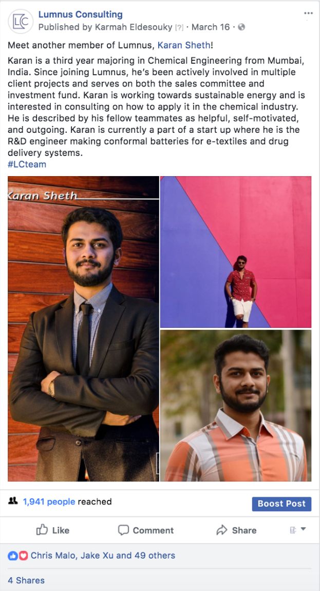 Screenshot of Lumnus Consulting Facebook Page post highlighting a new member. Karmah was responsible for running new member campaign, writing content, scheduling posts and providing visual content.