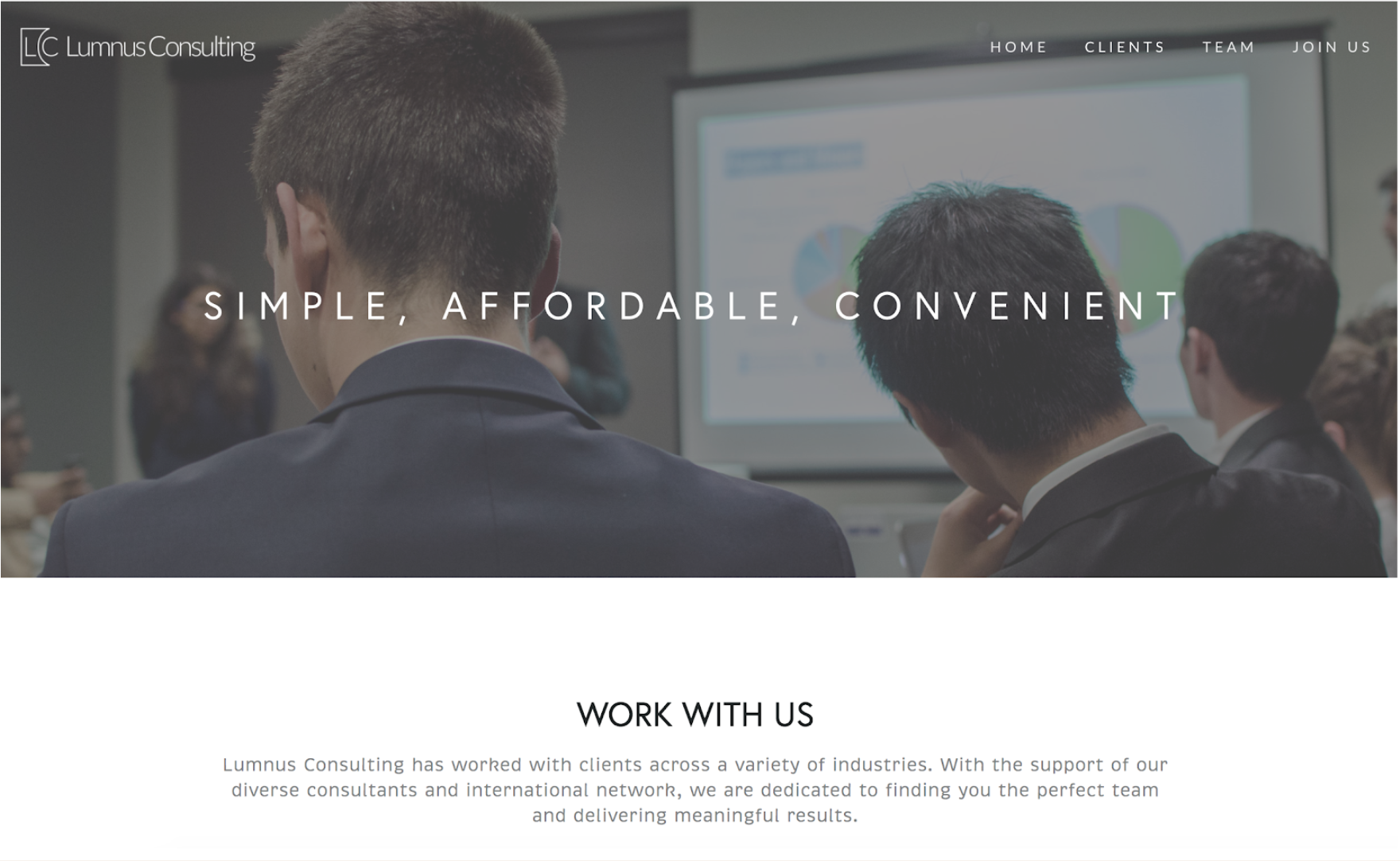 Screenshot of Lumnus Consulting Website. Karmah provided photographs, visuals, and assisted with layout of site.