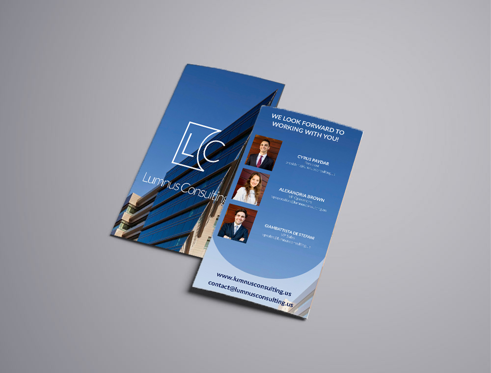 Lumnus Consulting's official print brochure given to potential partners, sponsors and clients. Front and back design shown.