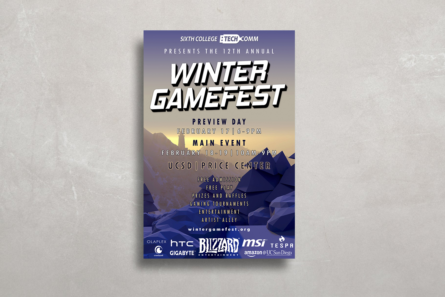 Official poster print design for Winter GameFest 2017 made in collaboration with Sixth College Technology Committee.