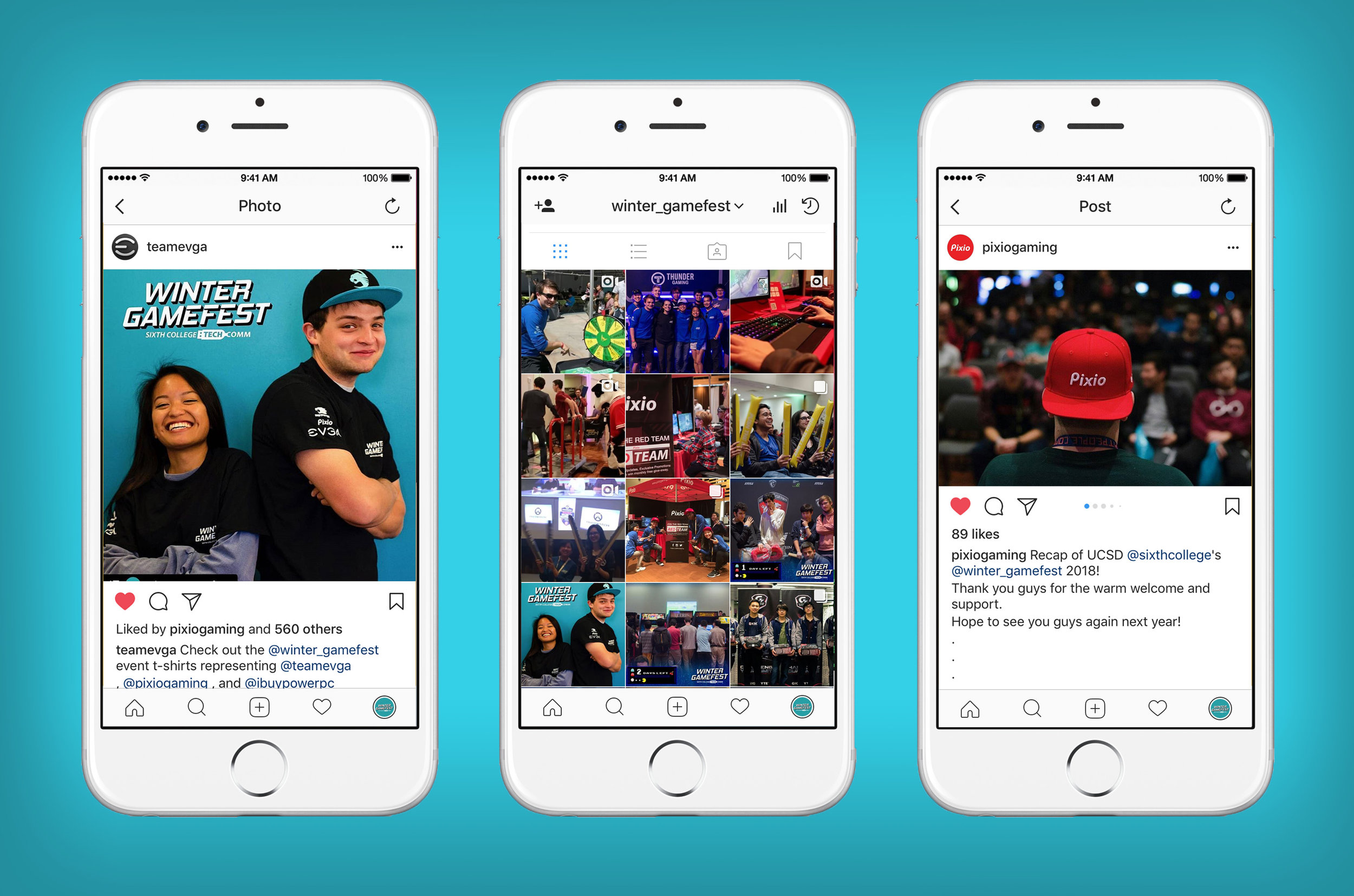 Screenshots of Winter GameFest 2018 Instagram campaigns and engagement with sponsors. Karmah ran the social media campaign and photographed content for feed and on behalf of sponsors.