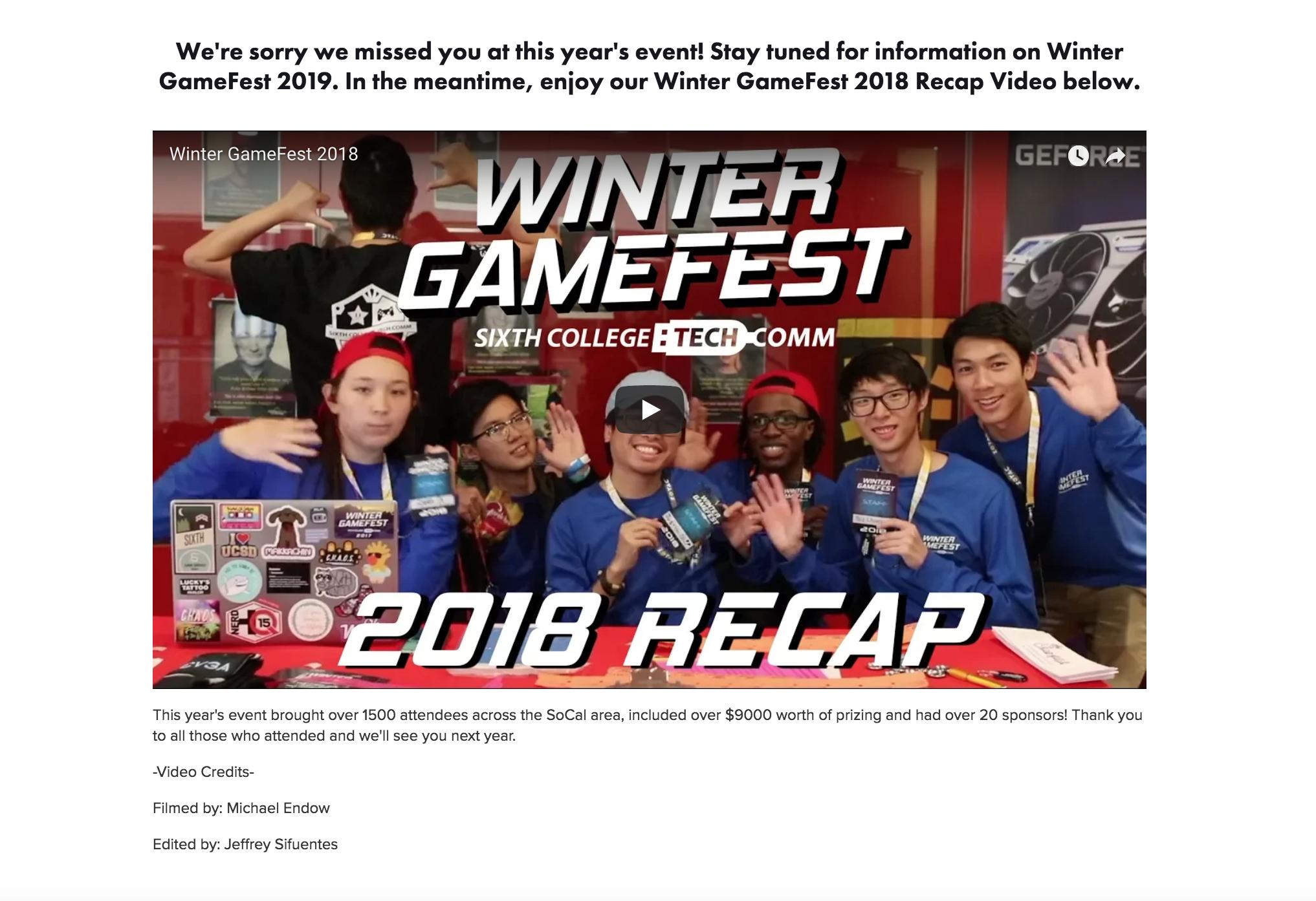 Screenshot of Winter GameFest homepage and website.