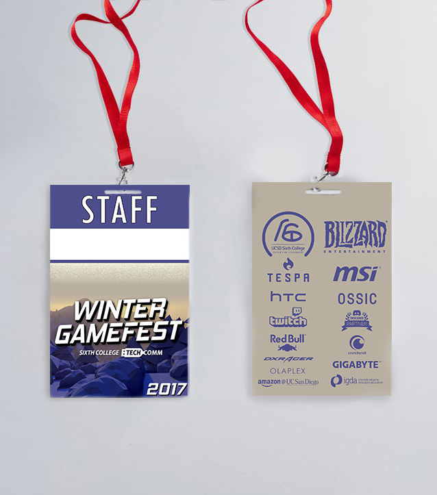 Official Winter GameFest 2017 front and back design of staff event badges.