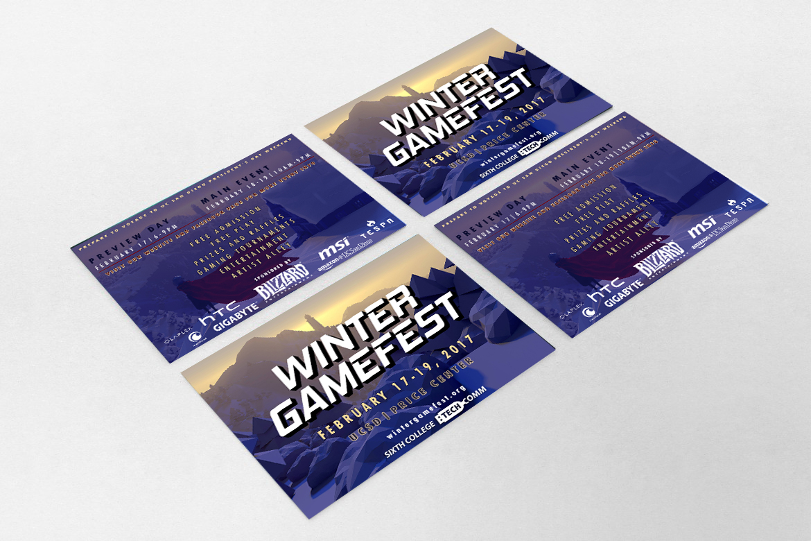 Official front and back flyer design for Winter GameFest 2017 made in collaboration with Sixth College Technology Committee.