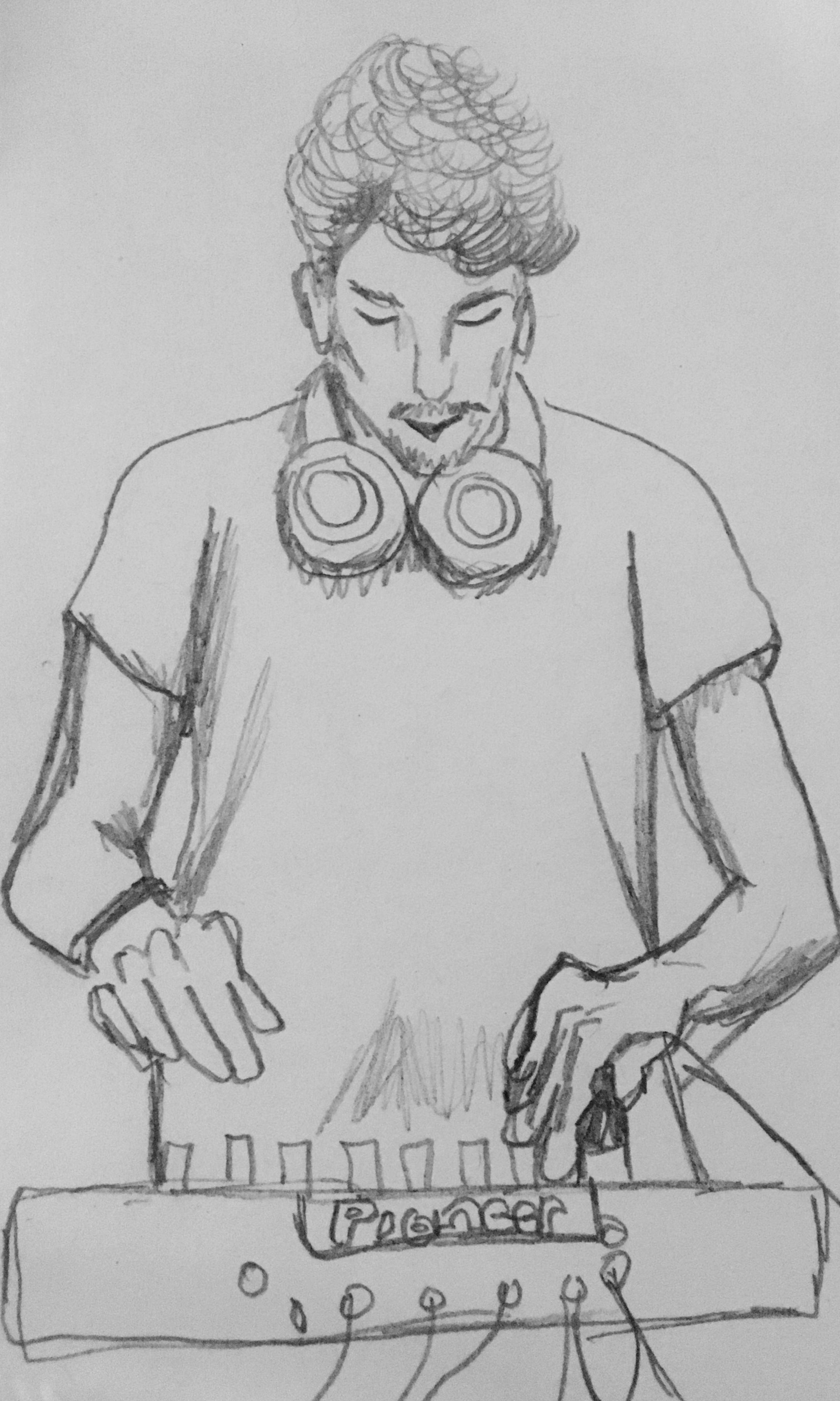 Initial sketch of Edwin Jonah Anamam