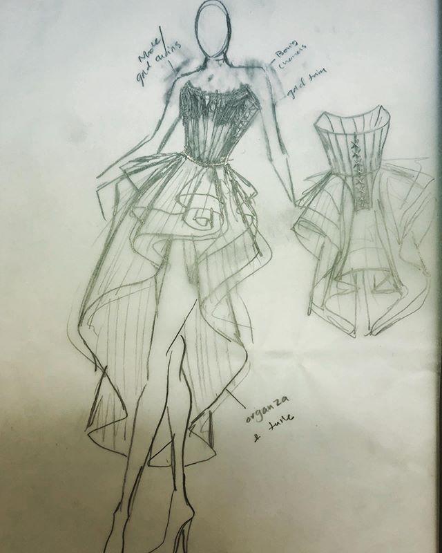 ✏️ Sketching my life away... #fashionillustration #sketching #fashiondesign #handdrawn #ballgown #assymetricaldress #hausofdavisanti