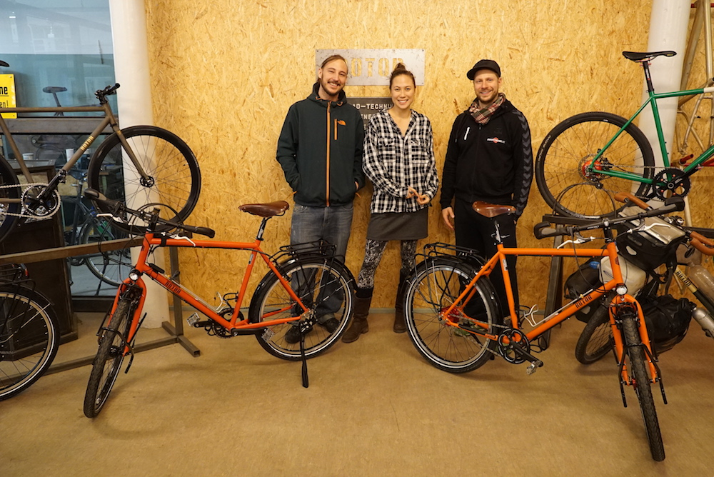 Pia and I with Sebastian from Rotor bikes. Our first sponsor.