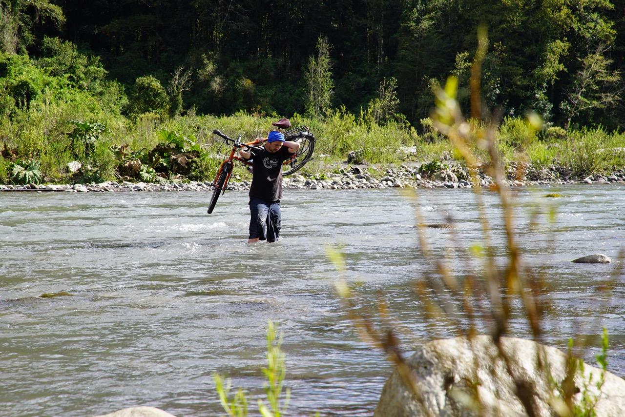 River crossing..  Huilo Huilo