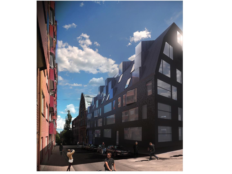 """2017-05-24 KAMEL VINNER I NORRKÖPING - Förslaget """"KAMEL"""" framställt av Botrygg AB med arkitektur+ development ab som arkitekter vinnare i markanvisningstävlingen för kvarteret Garvaren i Industrilandskapet Norrköping. Efter prekvalificering fem av 16 byggherrar med arkitekter inbjöds att lämna förslag i tävlingen, som finns på kommunens hemsida:http://www.norrkoping.se/bo-miljo/bygga/marktilldelning/garvaren/Ur juryns beslutFörslaget Kamel presenterar en väl genomtänkt analys av staden. Med en noga bearbetad, platsanknuten arkitektur tar förslaget förtjänstfullt fasta på Norrköpings huvudsakliga karaktärsdrag i mötet mellan Industriland- skapet och 1800-talets rutnätsstad. Förslaget lyckas, utan att vara det minsta historiserande, nyanserat samspela med taklandskapet och stadssiluetten i en vidare bemärkelse. Fasadernas lekfulla fönstersättning ger en välbehövlig kontrast mot de omgivande fabriksbyggnadernas mer rationella ordning och karaktär."""