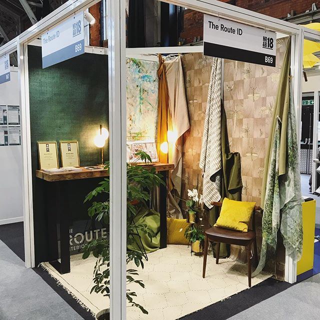 Very excited for our first stand @nrbmanchester ...Come and visit us at Stand B69... We have some beautiful wallpaper and fabrics on display @artewalls @blackpopuk @tekturatalk @panazfabrics @clarke_clarke_interiors @jabanstoetz 💚