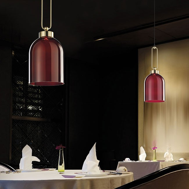 Pendant - Valentina - Incanto Modern Collection 4025 SCeiling Pendant Light in metal with brushed gold finish and red glass diffuser.Available in different colours.Design THDP & Simone BrettiDownload Tear Sheet