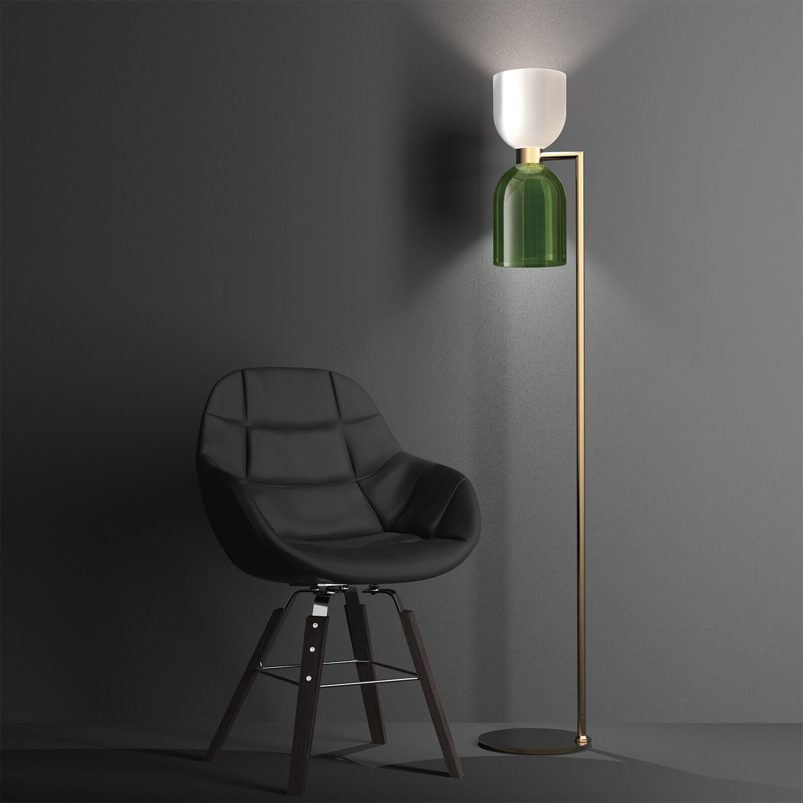 CATERINA FLOOR - Incanto Modern Collection 4026 / PCaterina Floor in metal with brushed gold with opal white and green glass diffuserAvailable in different colours.Design THDP & Simone Bretti