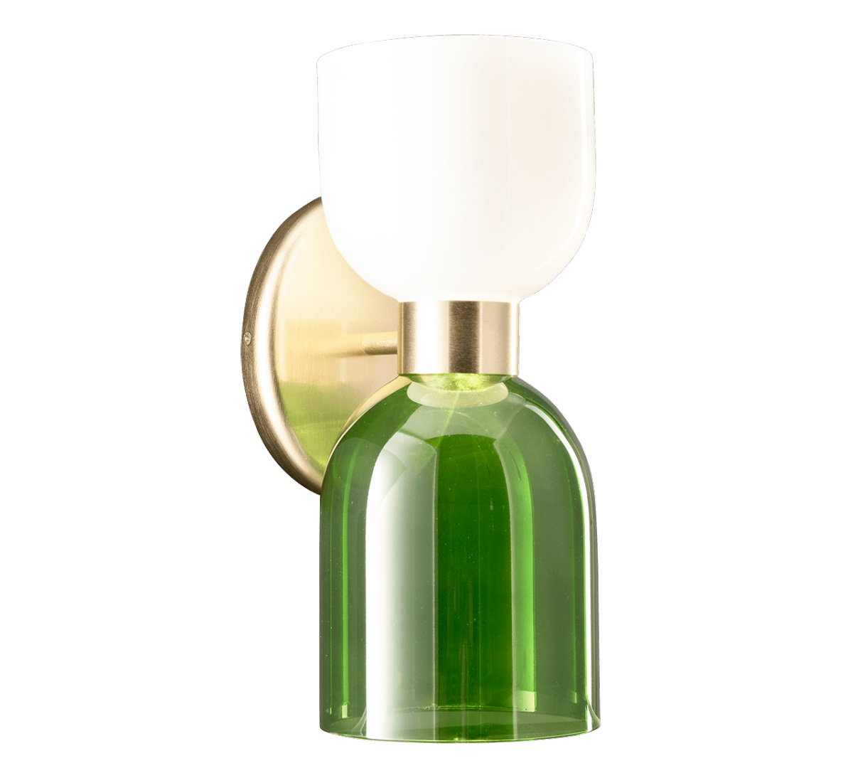 CATERINA WALL - Incanto Modern Collection 4026 / AP2Caterina Wall Sconce in metal with brushed gold with opal white and green glass diffuserAvailable in different colours.Design THDP & Simone Bretti