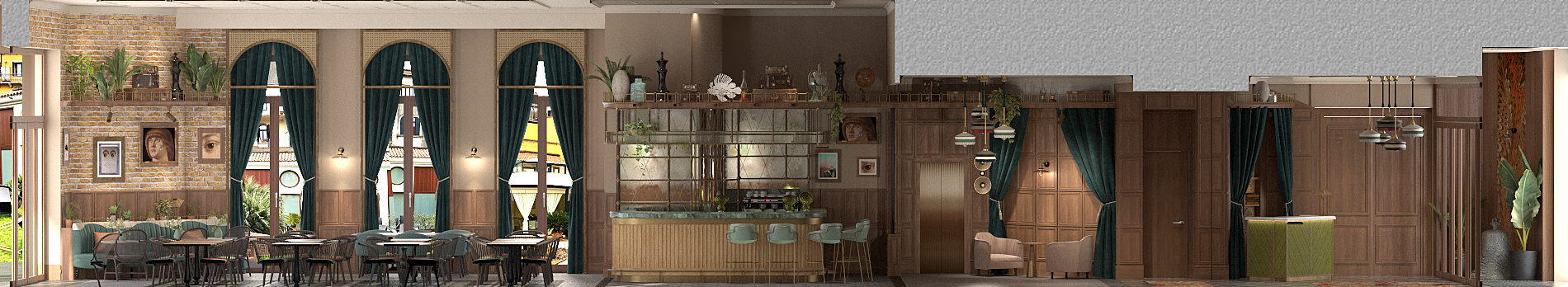 Indigo Hotel Venice - Rendering Lobby & Bar