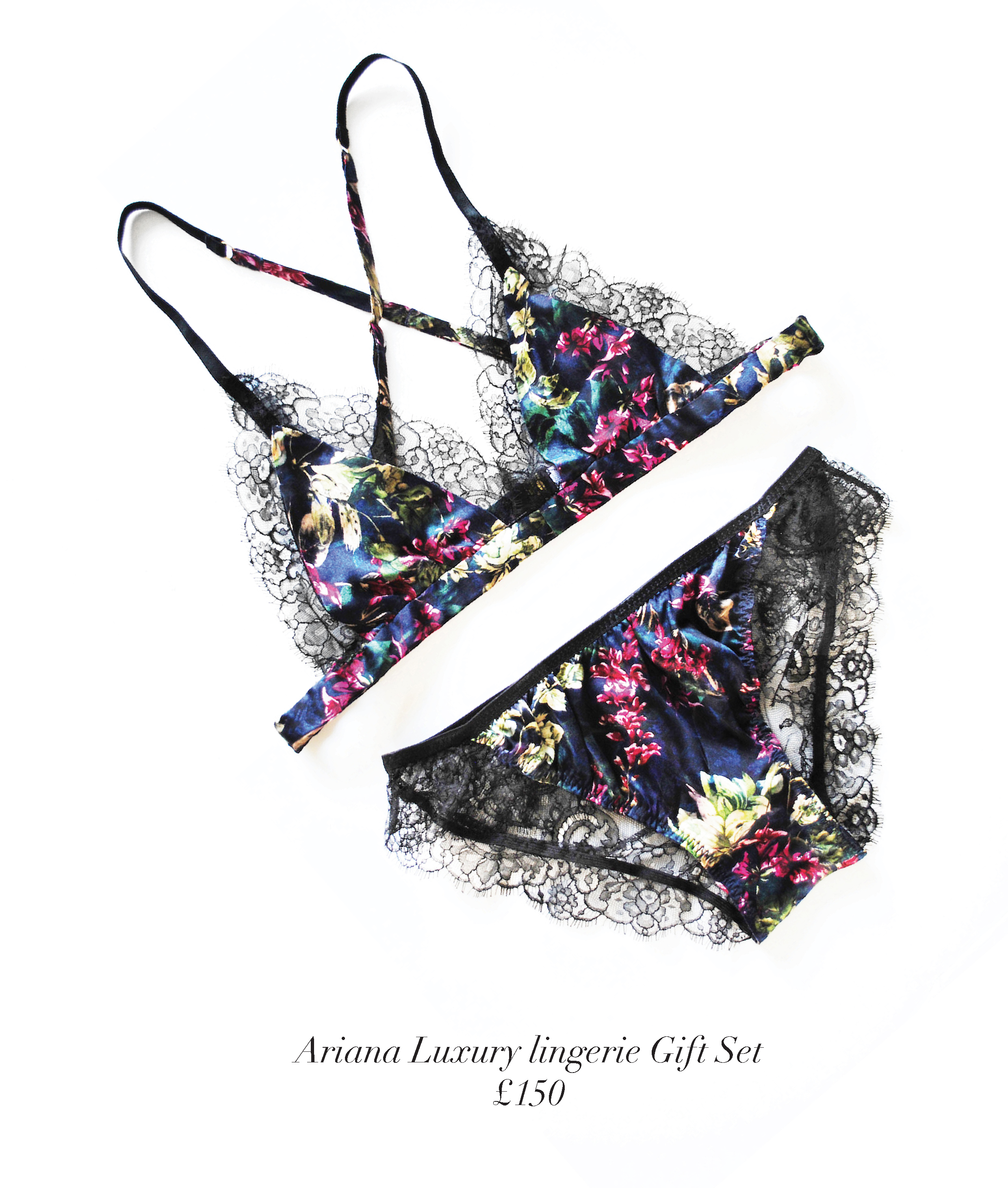 ariana luxury floral christmas lingerie gift set