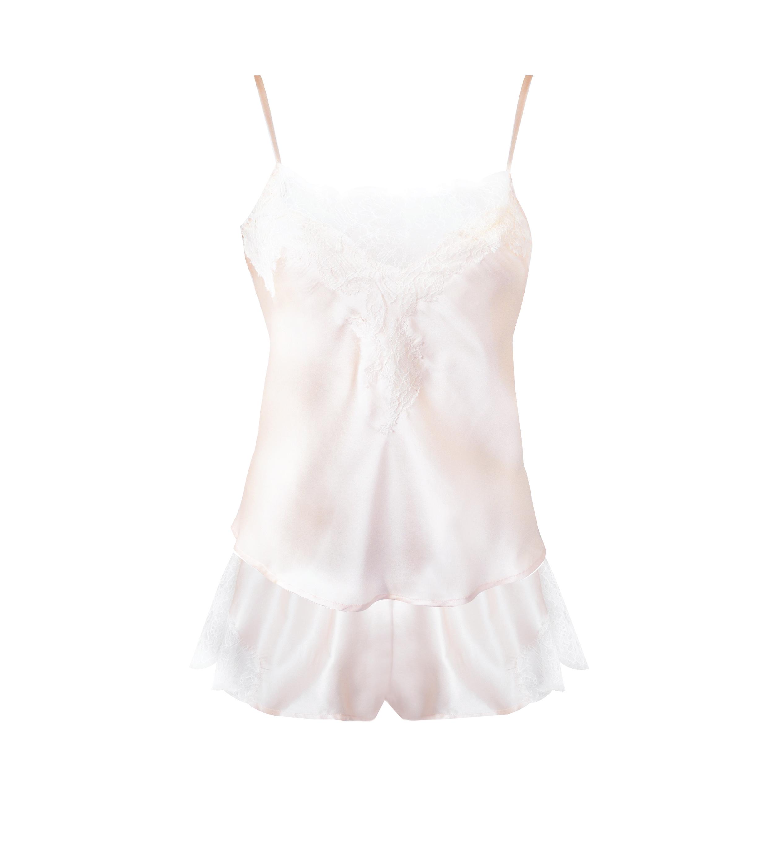Amelie Blush Silk and Lace Sleepwear Set