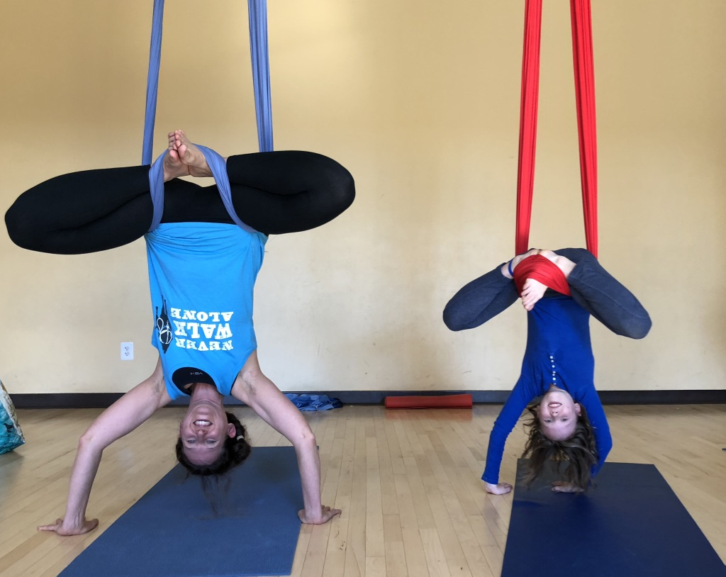 Parent and child aerial yoga classes held monthly at Upspring studios At Joes Movement Emporium.