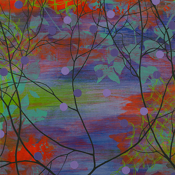 "Refuge 2, Acrylic on paper, framed 18 x 18"""