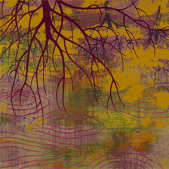 "Refuge 3, Acrylic on paper, framed 18 x 18"""
