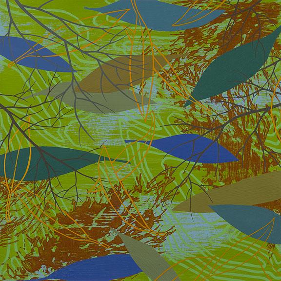 "Refuge 5, Acrylic on paper, framed 18 x 18"""