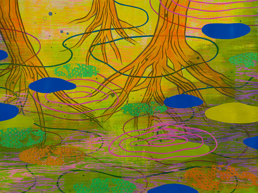 Wetland 40, Acrylic on paper, framed 24 x 30, Collection: Cleveland Clinic