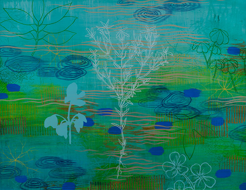 "Wetland 64 , Acrylic on paper, 19 x 24"" SOLD"