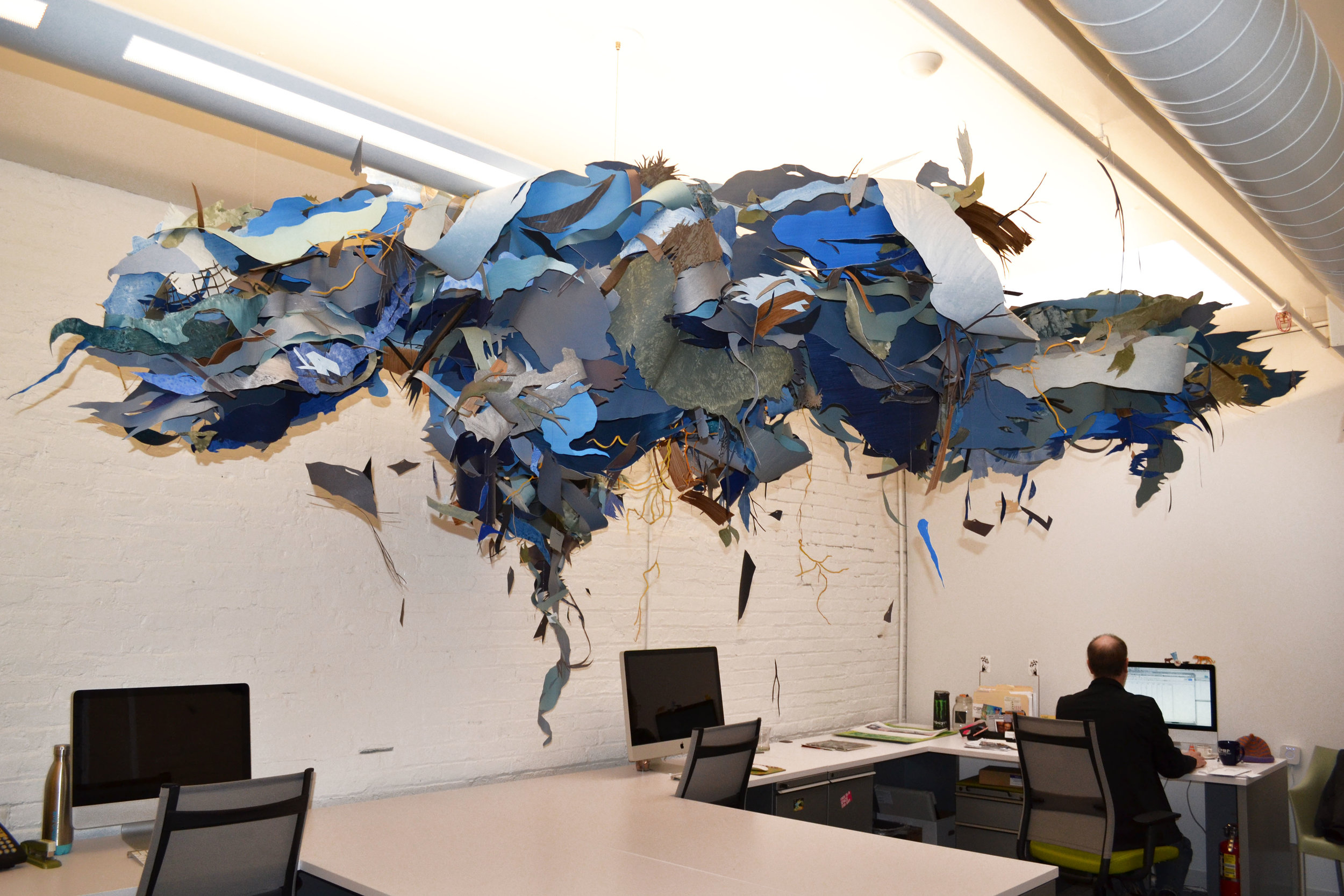 Debris Cloud  Cut painted paper 4 x 12 x 10' (Variable)  Administrative offices: SPACES Gallery, Cleveland