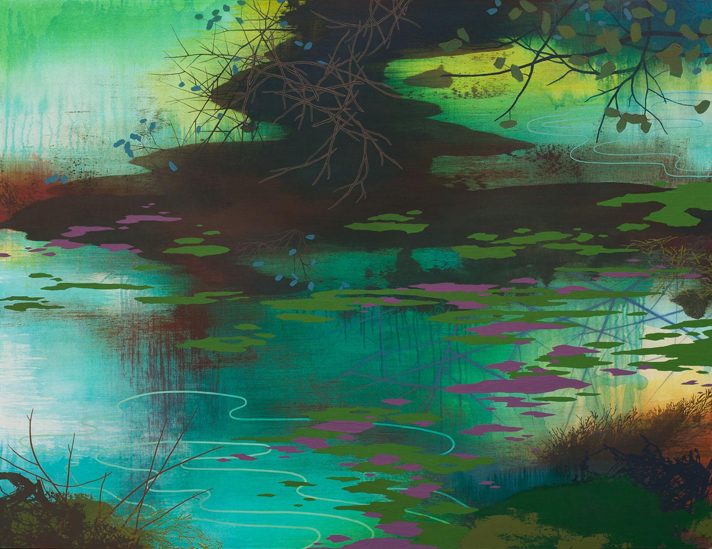 """Algae Bloom   Acrylic on canvas 46 x 60 x 1.5"""" SOLD"""