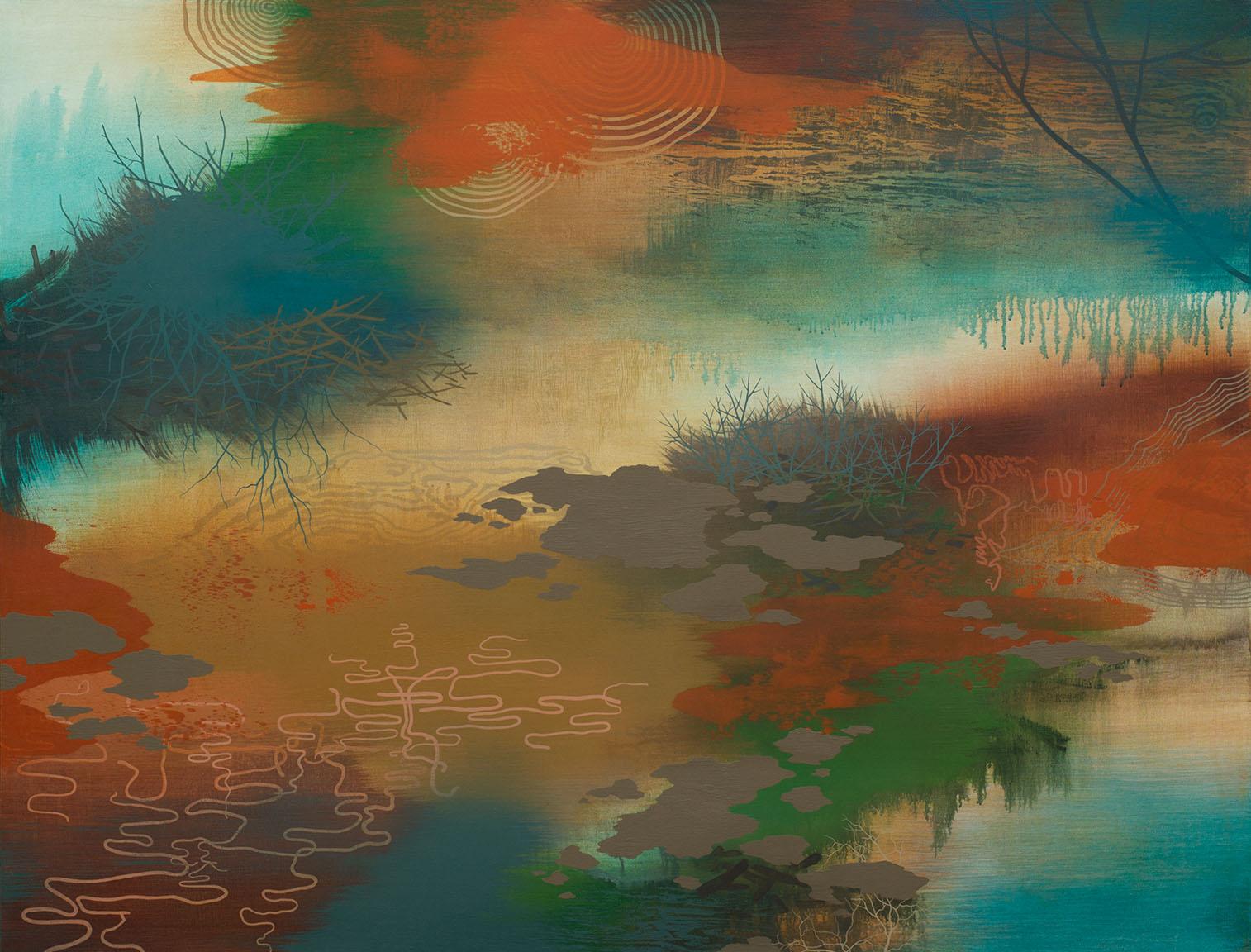 "Wood Interior   Acrylic on canvas 46 x 60 x 1.5"" SOLD"