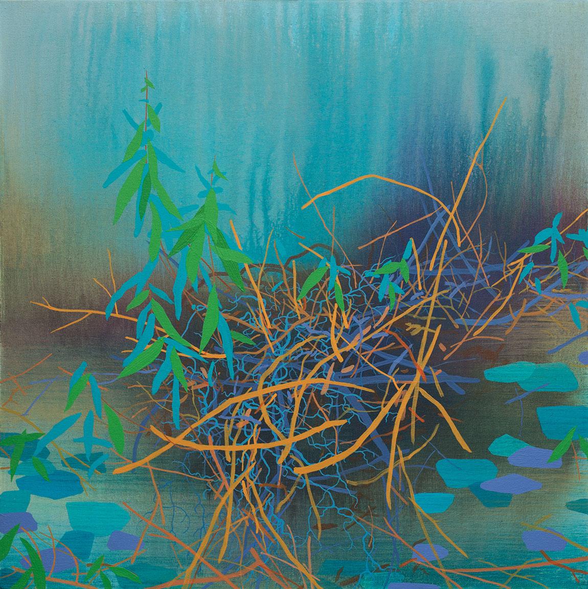 "Entangled Growth   Acrylic on canvas 24 x 24 x 1.5"" SOLD"