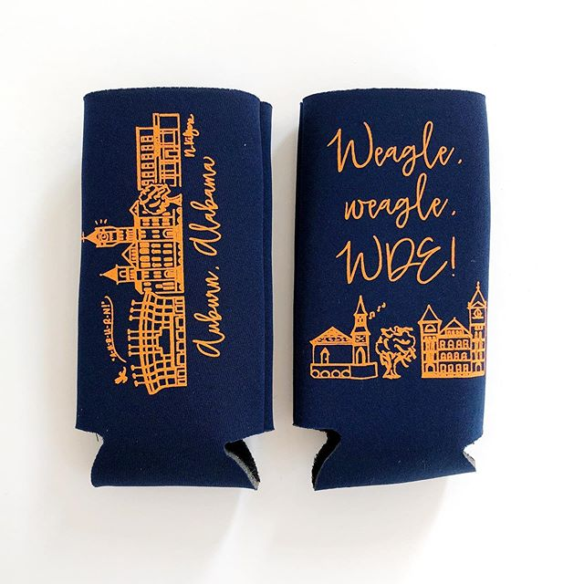 ICYMI: new navy Auburn slim koozies are here (by request!) I have orange slim koozies and regular size koozies, too. Check 'em out Auburn folks! #auburn #nmpshop #cheers