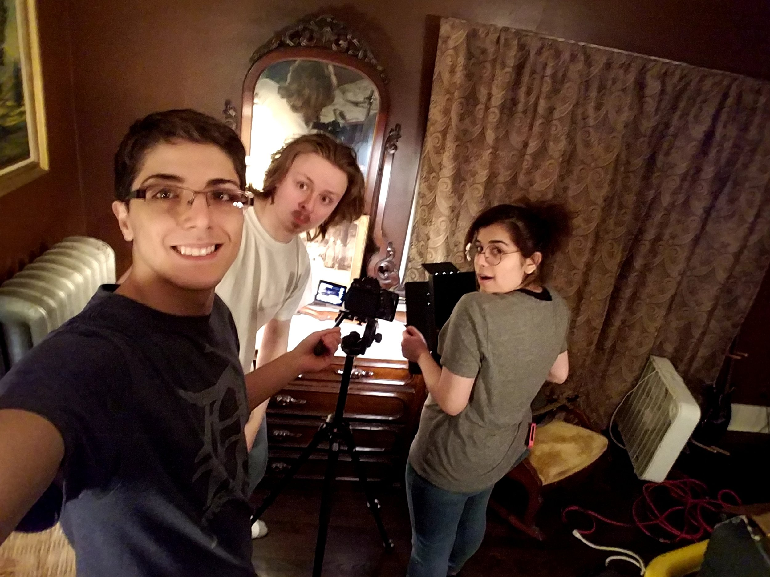 "Michael Berry, Sema Alsaid, and Alex Osborne on set of ""Lucidity""."