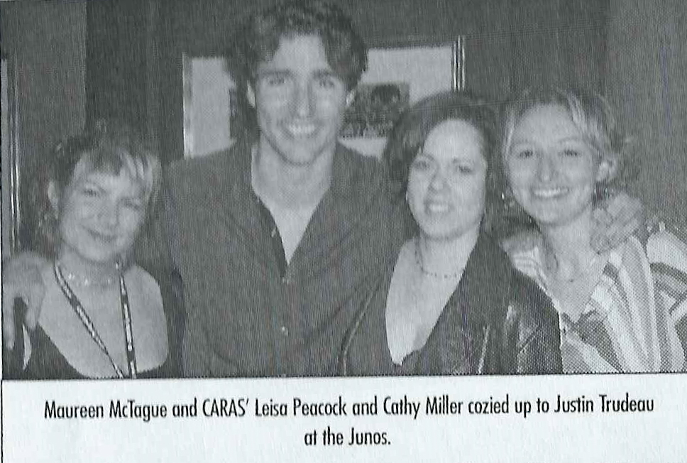 With Justin Trudeau at 2002 Junos in Newfoundland
