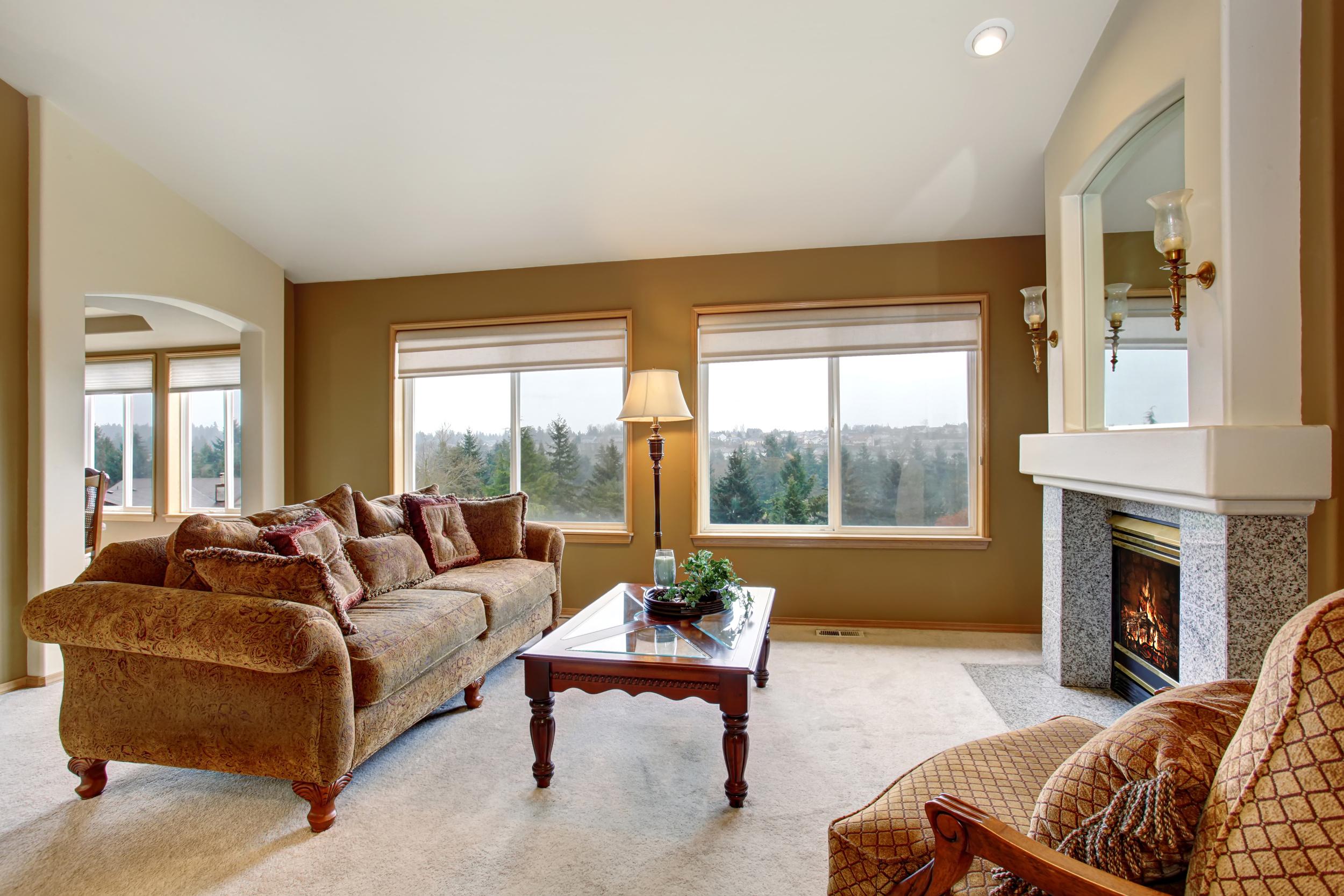 Living room roman shades window treatments