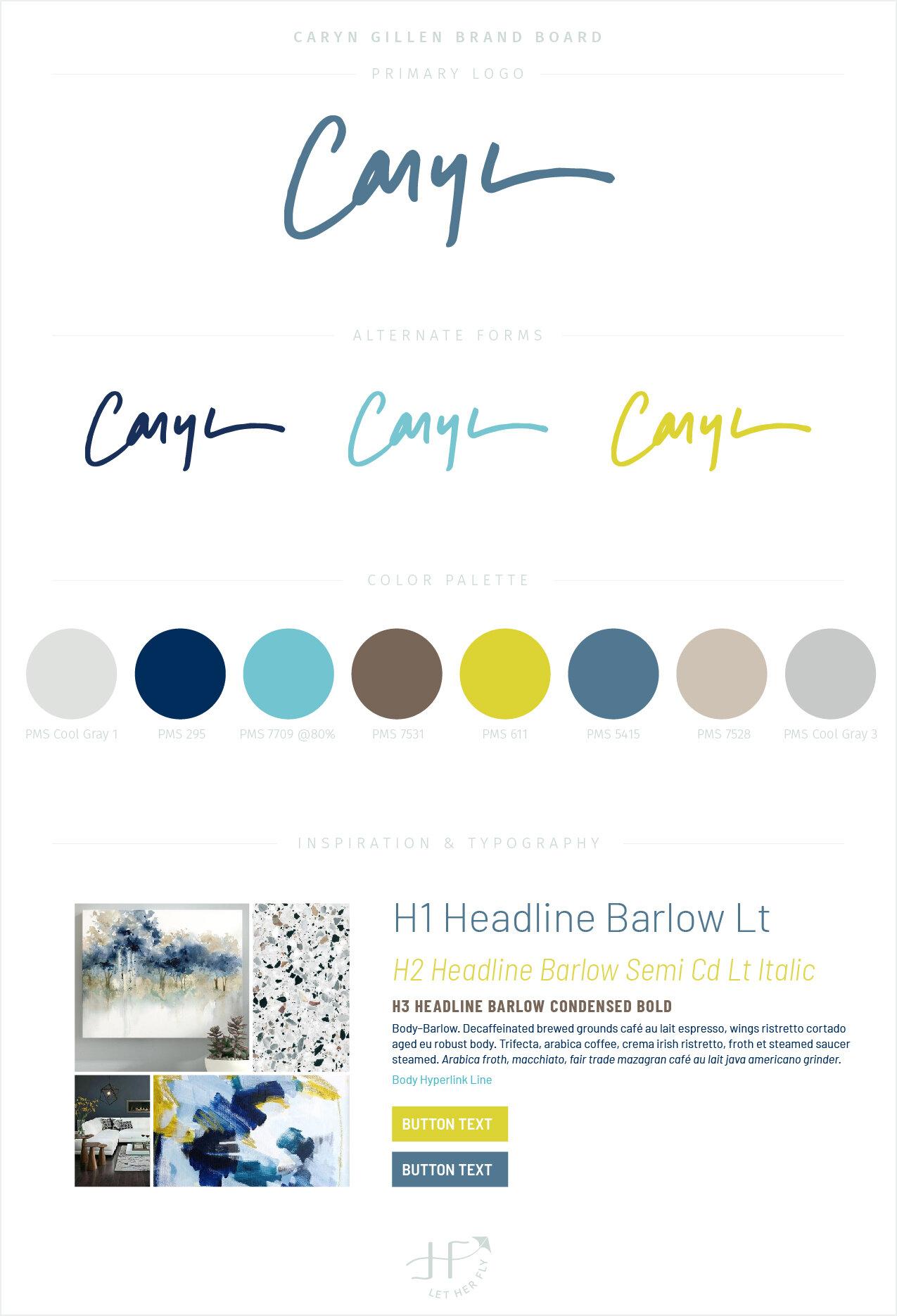 Caryn Gillen final brand board by Michelle Clayton | Let Her Fly