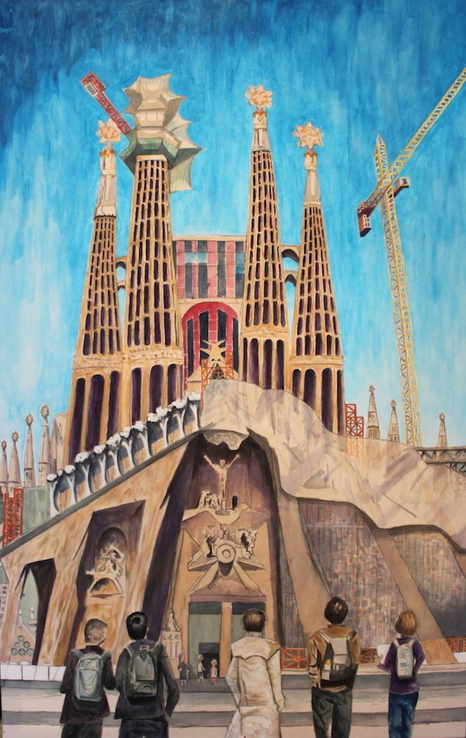 Sagrada Familia, 2016, Acrylic on canvas, 72 x 46 in