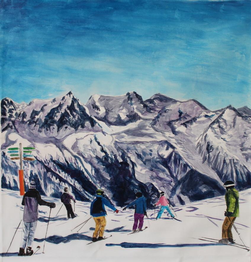 The Alps, Chamonix, France, 2015, acrylic on canvas, 32 x 32 in.