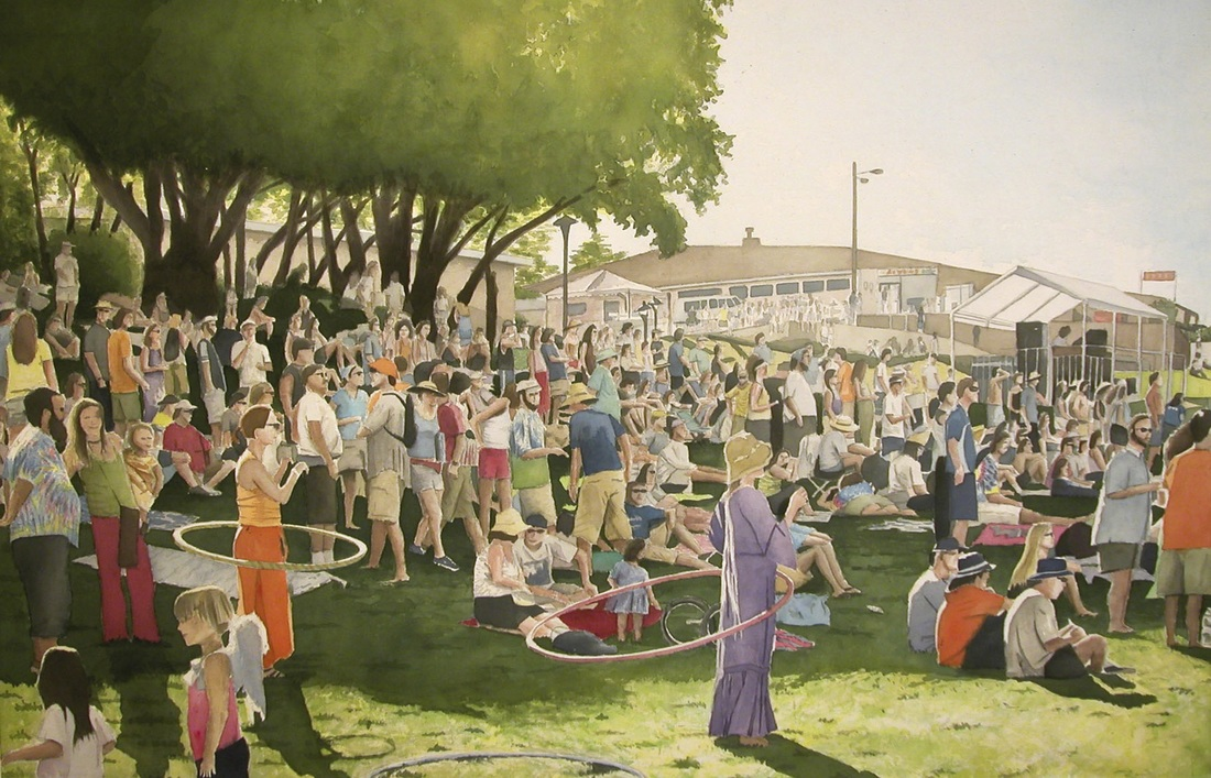 Hill Crowd, 2006, acrylic on canvas, 40 x 66 in