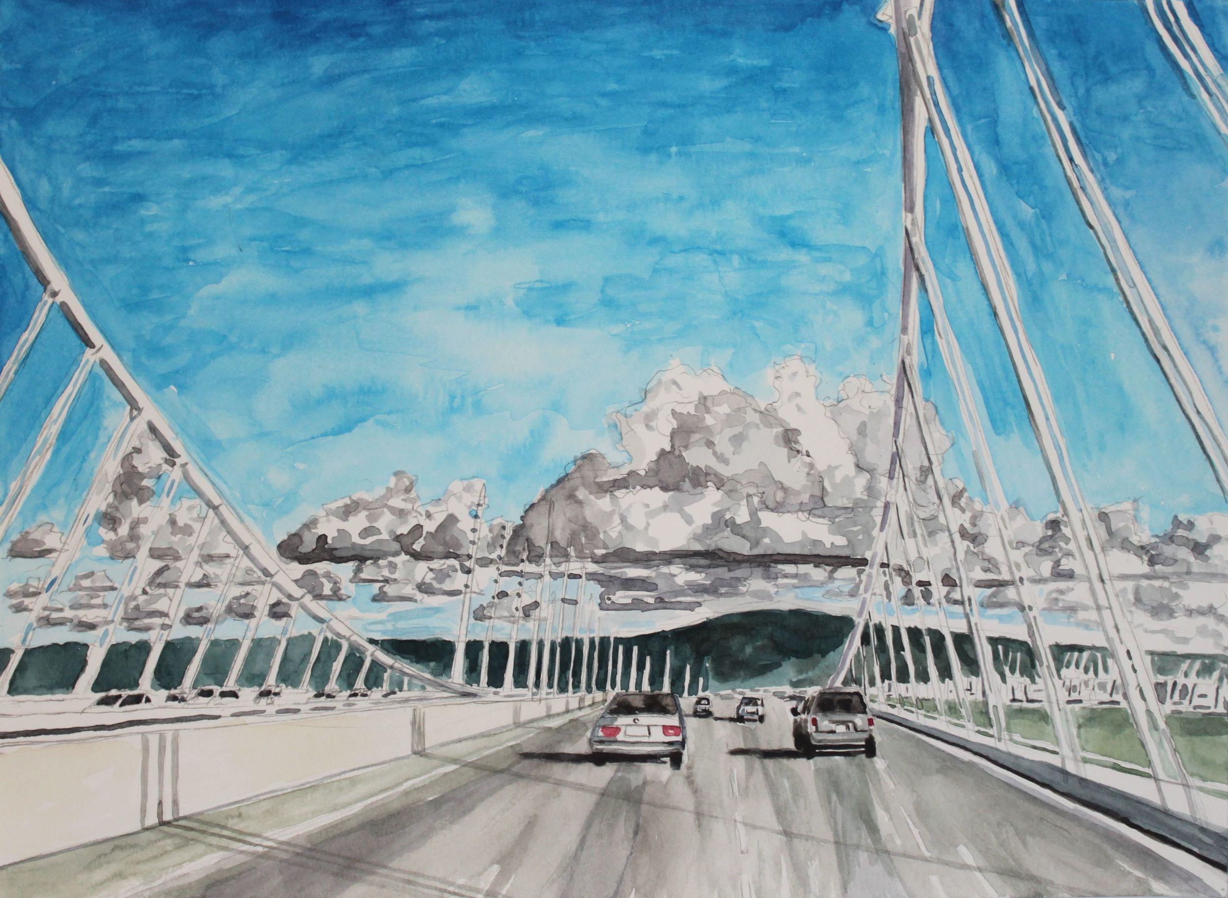 Bay Bridge, 2016, watercolor, 11 x 14 in.