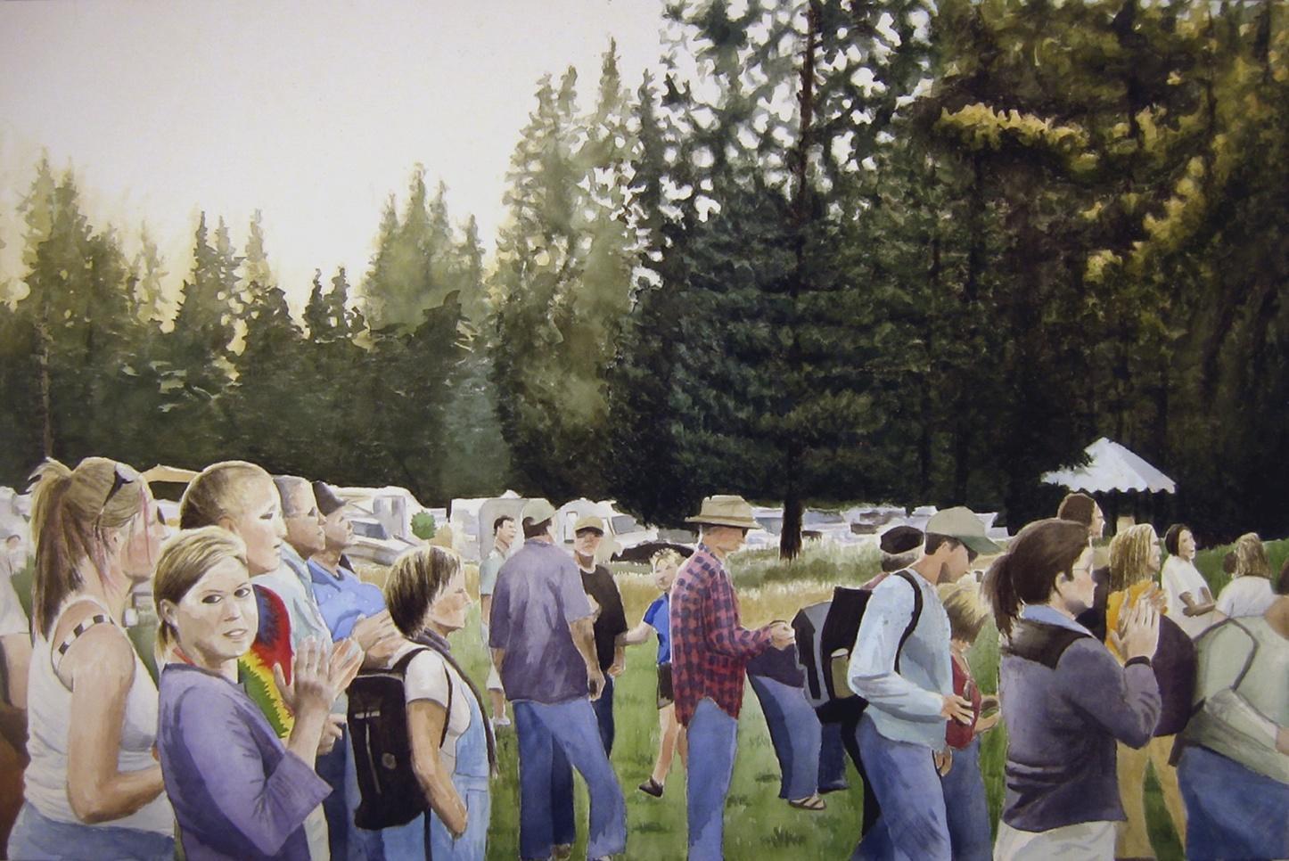 Festival Crowd, 2010, acrylic on canvas, 42 x 74 in.