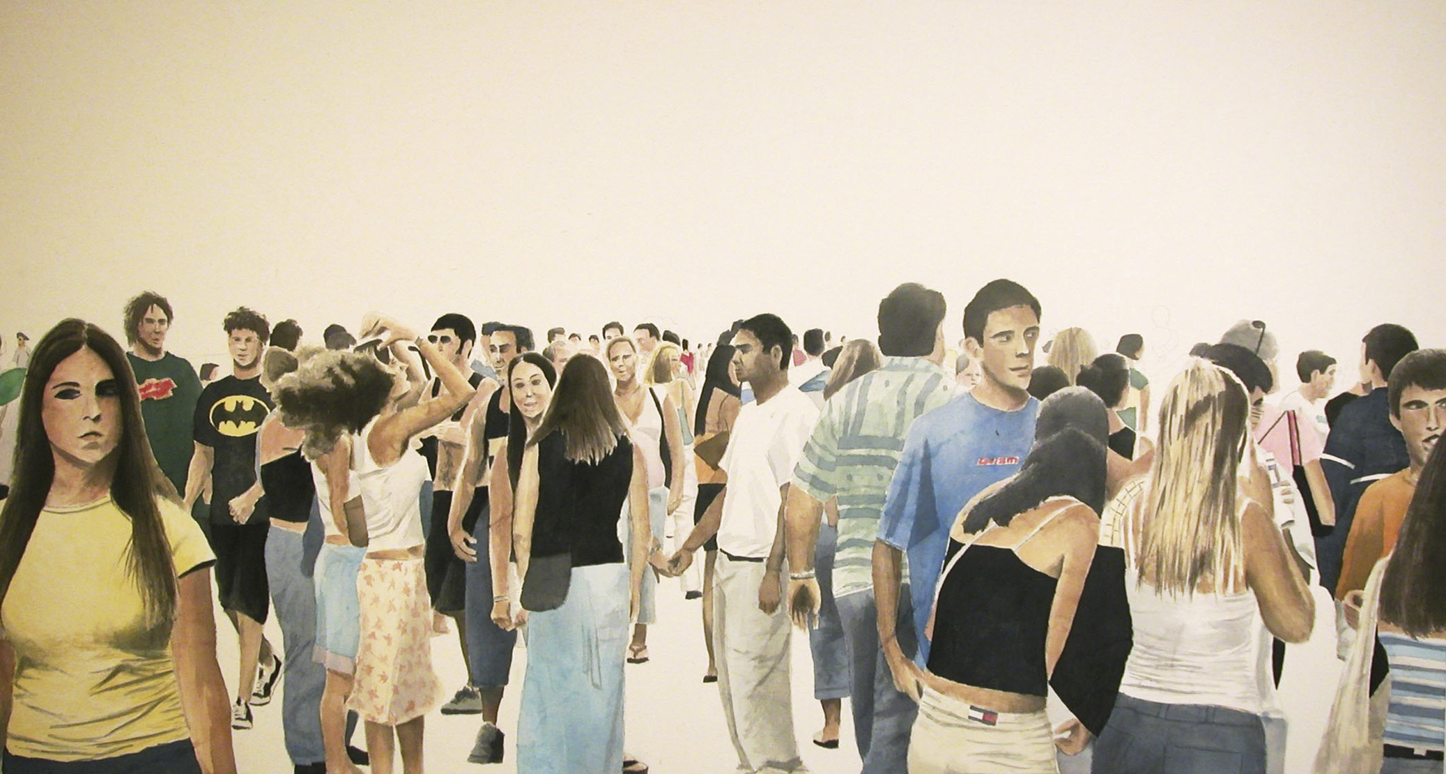Street Crowd, 2007, acrylic on canvas, 38 x 72 in.