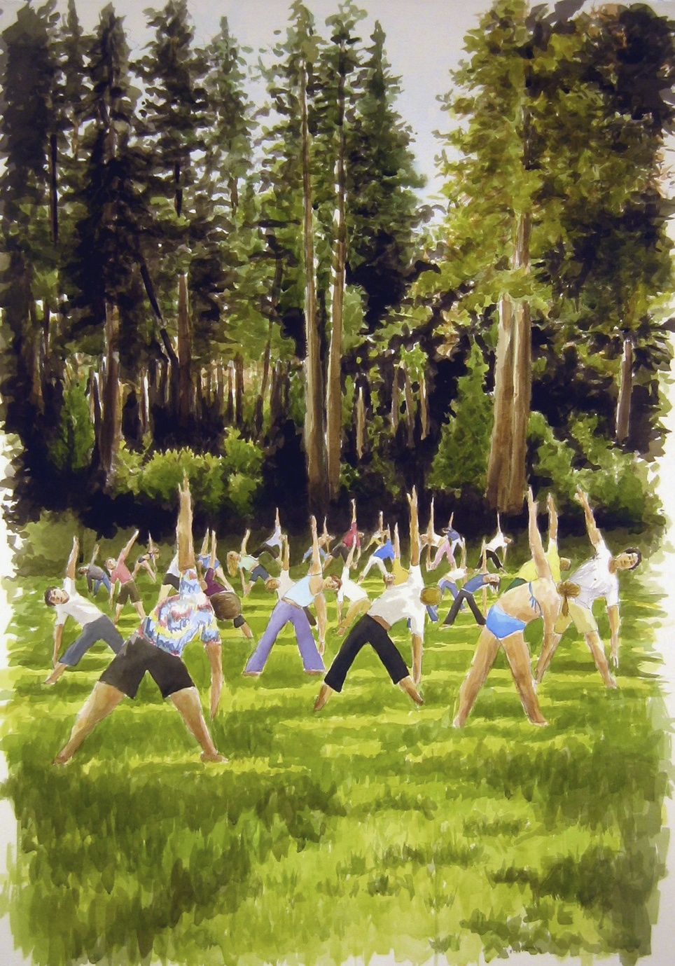 Yoga in the Meadow, 2008, watercolor & acrylic on paper, 40 x 31 in.