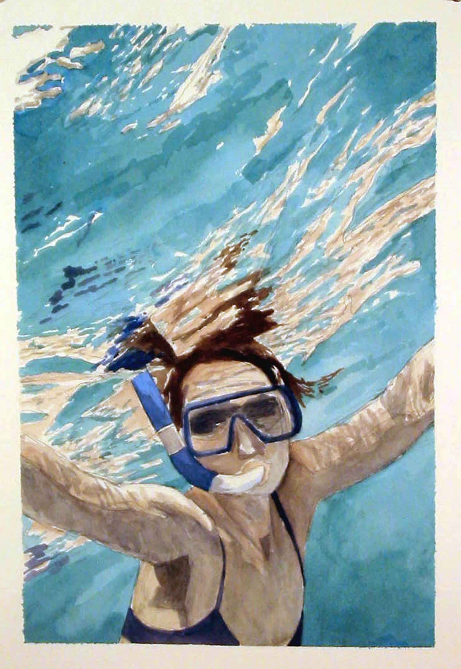 Ramona Snorkeling, 2006, watercolor, 20 x 14 in.